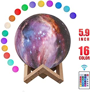 Starry Moon Lamp, Metplus 3D Print Lunar Night Light 16 Colors Remote Control & Touch Sensor USB Recharge LED Dimmable Moonlight Lamps for Home Décor Baby Kids Birthday Christmas Gifts - 5.9 Inch