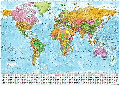 Póster XXL Mapa del Mundo con Banderas - Versión 2020 [En Inglés] (140cm x 100cm) + 1 Póster con Motivo de Paraiso Playero