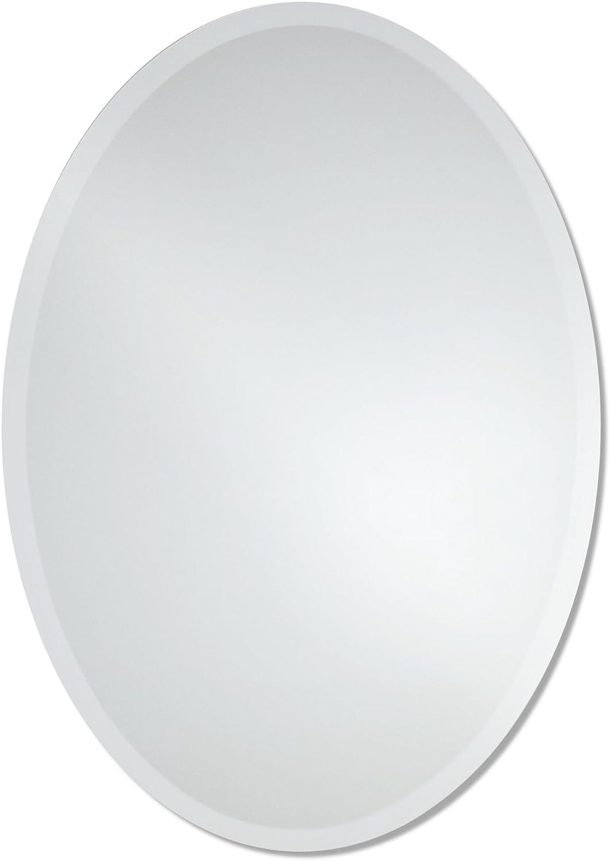 Large Frameless Beveled Oval Wall Mirror   Bathroom, Vanity, Bedroom Mirror   23.5-inch x 33-inch