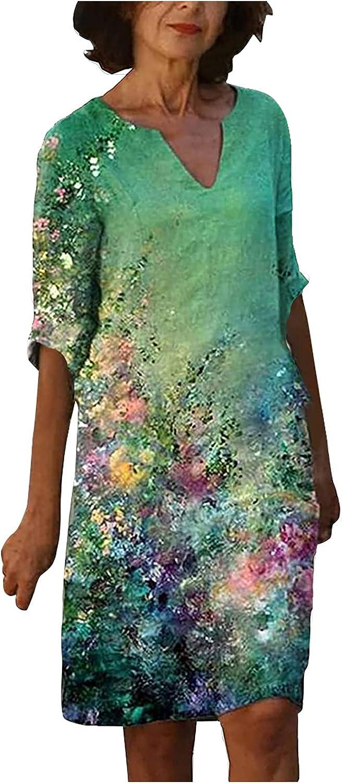 Women Summer Dresses V Neck Sundress Half Sleeve Party Gowns Flower Graphic Print Beach Dress Casual A Line Midi Skirt