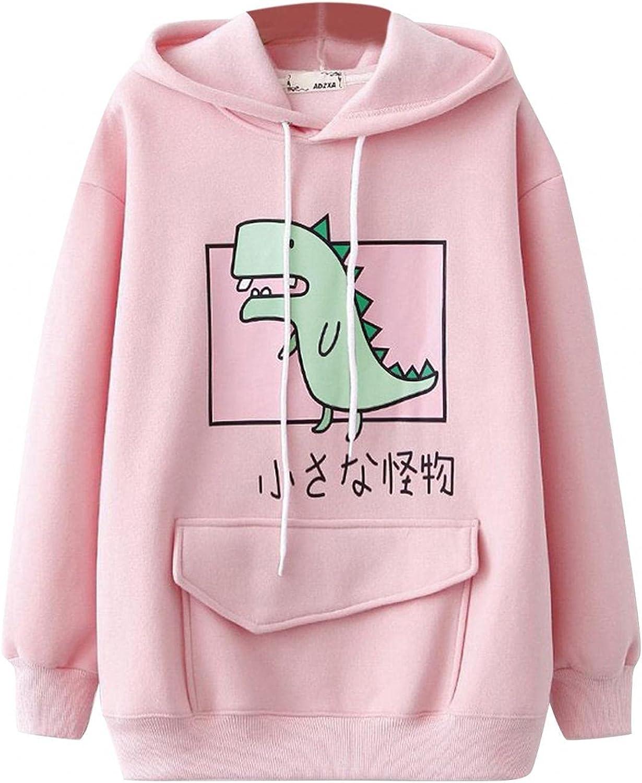 Cute Hoodies for Women Teen Girls Dinosaur Printed Long Sleeve Pullover Casual Pocket Sweatshirt Blouse Tops
