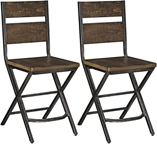 Ashley Furniture Signature Design - Kavara Barstool - Set of 2 - Casual Style - Two-tone Brown/Gray