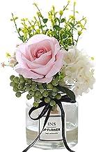 Artificial Flowers in vase,Artificial Plants & Flowers Faux White Rose Bouquet Flower...