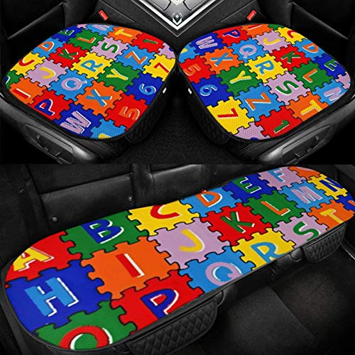 Risating Auto IJskussen - ABC Puzzel Auto voor- en achterbank Mat Release Stress Ice Silk Non-Slip Cool All Seasons Universele bodemstoelhoezen voor auto, kantoor en thuis stoelen