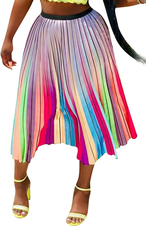 Women Casual Rainbow Striped Print Pleated Midi Skirts A-Line Clubwear