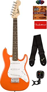 Fender Squier Mini Strat Electric Guitar - Competition Orange Bundle with Tuner, Strap, Picks, Austin Bazaar Instructional DVD, and Polishing Cloth