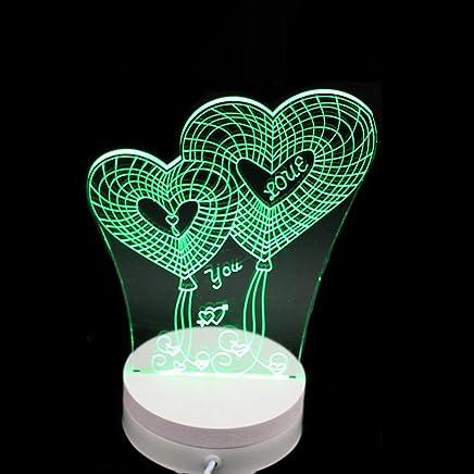 YJH+ ナイトライトベッドサイドテーブルランプ3Dビジュアル雰囲気ライトチャイニーズニューイヤーバレンタインデー3Dナイトライト 美しく寛大な ( 色 : C )