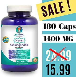 Organic Ashwagandha 180 Caps - 1400 MG - Thyroid & Hormone & Adrenal Support with BioPerine Pepper by Foxxy Doc