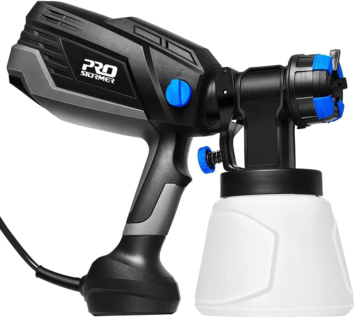 Electric Paint Sprayer PROSTORMER ,600W High Power Paint Tool ,Easy to Carry for Spray and Remove Clean ,with 3 Spraying Pattern and 4 Nozzle Sizes ,for Indoor Interior ,Fence ,Woodcraft etc