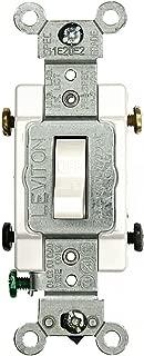Leviton CS215-2W 064-Cs215-02W Grounded Toggle Switch, 120/277 Vac, 15 A, 2 P, White