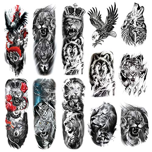 Leoars Full Sleeve Temporary Tattoos Animal Theme, Fake Tiger Lion Arm Tattoos Stickers and Extra Large Tattoo Sleeves for Menand Women,12-Sheet