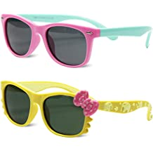 cbe5510d32b Kids Polarized Cat Eye Aviator Sunglasses for Girls Boys Children Pack of 2