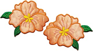 Nipitshop Patches Orange Jasmine Flowers Pair Flowers Floral Bouquet Boho Embroidered Appliques Iron-ons Patches Clothings Jeans Skirt Vests Scarf Hat Backpacks for Men Women