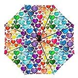 Travel Umbrella Windproof Automatic Umbrella, Watercolor Hearts Seamless Folding Umbrella, Waterproof Compact Sun & Rain Umbrellas for Women Men Kid