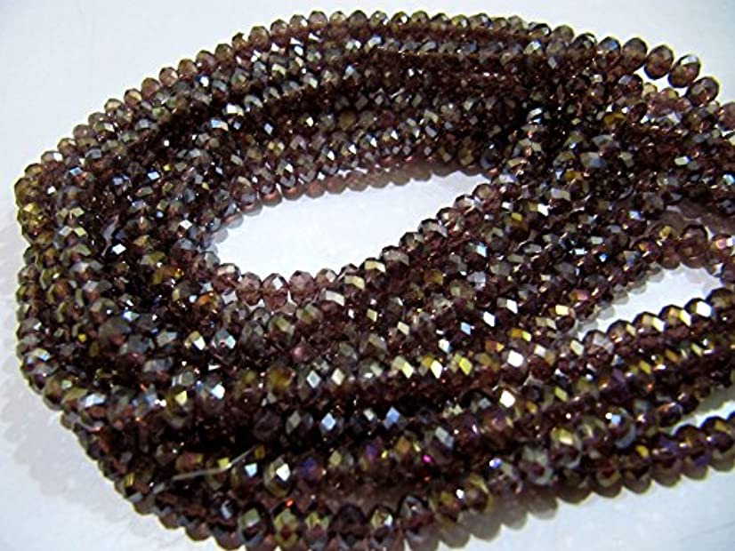 AAA Quality Mystic AB Coated Rhodolite Garnet Color Hydro Quartz Beads / 4 mm Rondelle Faceted Beads / 150 Beads approx per Strings.