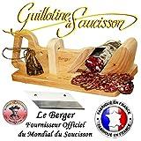 Le Berger Guillotine, Trancheuse à Saucisson Traditionnel Fabriqué en France, SECURITE Protege Doigt, Lame de Rechange