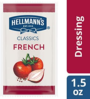 Hellmann's Classics French Salad Dressing Portion Control Sachets Gluten Free, No Artificial Flavors or High Fructose Corn Syrup, Colors from Natural Sources, 1.5 oz, Pack of 102