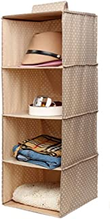 Durable Hanging Clothes Storage Box Home Decor Organizer (4 Shelf),Dot/Khaki