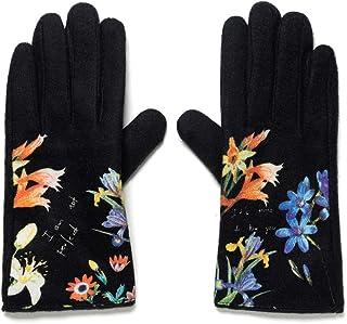 Desigual Gloves_flowerish Guantes para clima frío, Black, U para Mujer