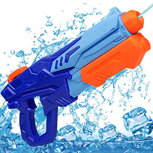 MOZOOSON Wasserpistole Spielzeug für Kinder mit Langer Reichweiter Freezefire für Kinder Mädchen Junge ab 3 Jahr 750ML Blau XXL Eiswürfel geeignet