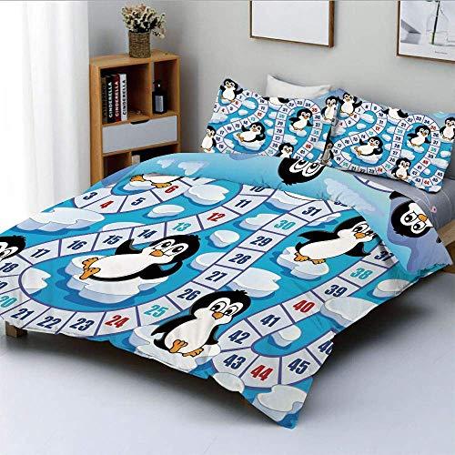 Juego de funda nórdica, lindos pingüinos divertidos, Antártida, entorno acuático, iceberg, océano, animales felices, juego de cama decorativo de 3 piezas con 2 fundas de almohada, multicolor, el mejor