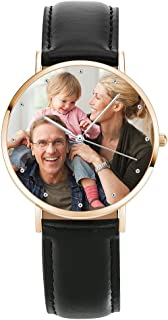 SOUFEEL Custom Photo Watch for Men Women Personalized Engraved Watch Customized Leather Wrist Watches Personalized Gift Bi...