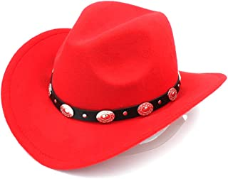 e9ef52a26e4867 Elee Womem Men Wool Blend Western Cowboy Hat Wide Brim Cowgirl Jazz Cap  Leather Band