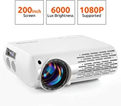 Crenova Video Projector, 6000 Lux Home Movie Projector(550 ANSI), 200'' Display..
