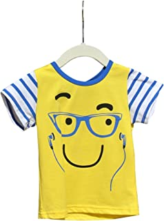 Toddler and Little Boy Stylish Short Sleeve T-Shirt Top With Smiley Face