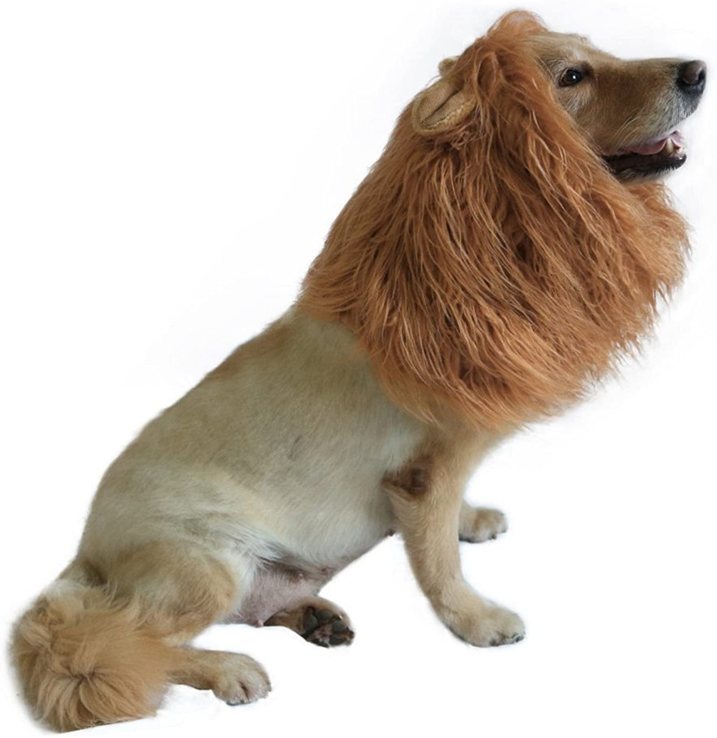 Ahaylyn Lion Mane Wig Costume with Adorable Ear for Medium Dogs Halloween, Brown
