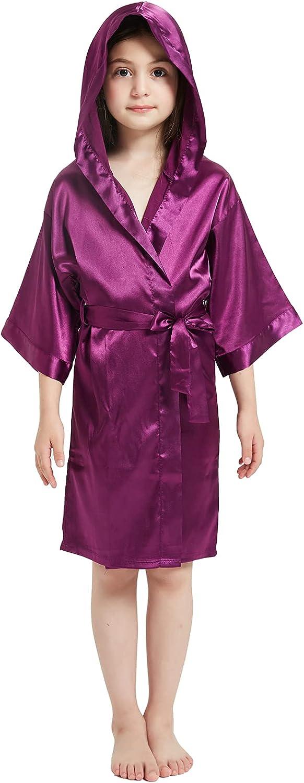 Umeyda Girls Satin Kimono Hooded Fashionable 4 12 Bathrobe - Max 68% OFF Years