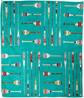 Golee Throw Blanket Colorful Oar Canoe Paddle Pattern Lake Indian Activity Boat Drawing 50x60 Inches Warm Fuzzy Soft Blanket for Bed Sofa
