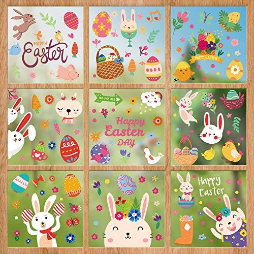 Ostern Sticker Frühling, Fensterdekoration Fensteraufkleber, Fensterbilder Osterdekoration, Frohe Ostern Fenstersticker, Fenster Aufkleber Ostern, Osterhase Ostereier Frühlingsdeko für Ostern