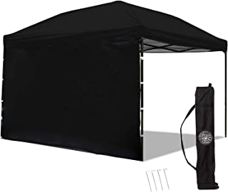 Punchau Pop Up Canopy Tent with Sidewall 10 x 10 Feet - UV Coated, Waterproof Instant Outdoor Party Gazebo Tent (Black)