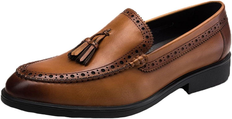 Santimon Mens Loafers Leather Tassel Slip-on Brogues Dress shoes