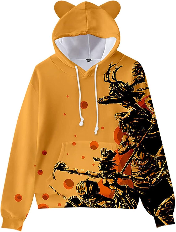 Hoodies Sweatshirt for Women Men Halloween Pumpkin Print Casual Long Sleeve Pullover Autumn Trendy Tops Blouse