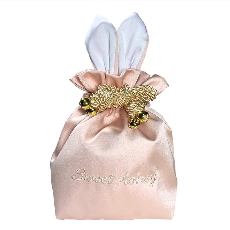 見込み旅労働者RER ウサギ コスメポーチ 化粧ポーチ 化粧品 たっぷり 収納 ポーチ コスメ ケース 巾着 (ピンク)