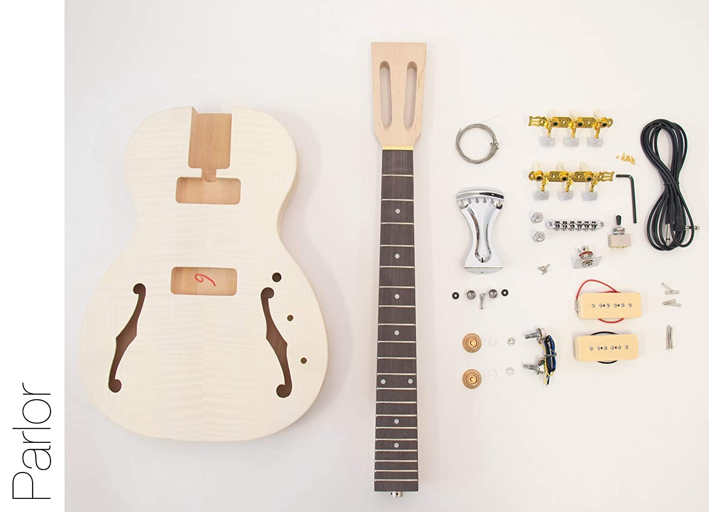 The FretWire DIY Electric Guitar Kit Hollow Body Style Build Your Own Guitar Kit - Parlor