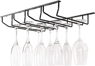 JUBAO Wine Glass Rack, Under Cabinet Stemware Wine Glass Holder Glass Storage Rustproof Metal Kitchen Countertop Storage, Bronze