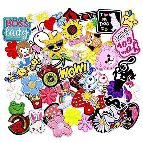 60PCS aufnäher Kinder Zum Aufbügeln für DIY Patches zum Aufbügeln Applikation Flicken Zum Aufbügeln Patch Sticker Jeans Kleidung Patches Pflanzen Tiere Cartoon (Mischfarbe-60PCS-B)