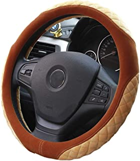 XiXiHao General Car Styling Charm Warm Plush Steering Wheel Cover for Women Girl Beige Coffee