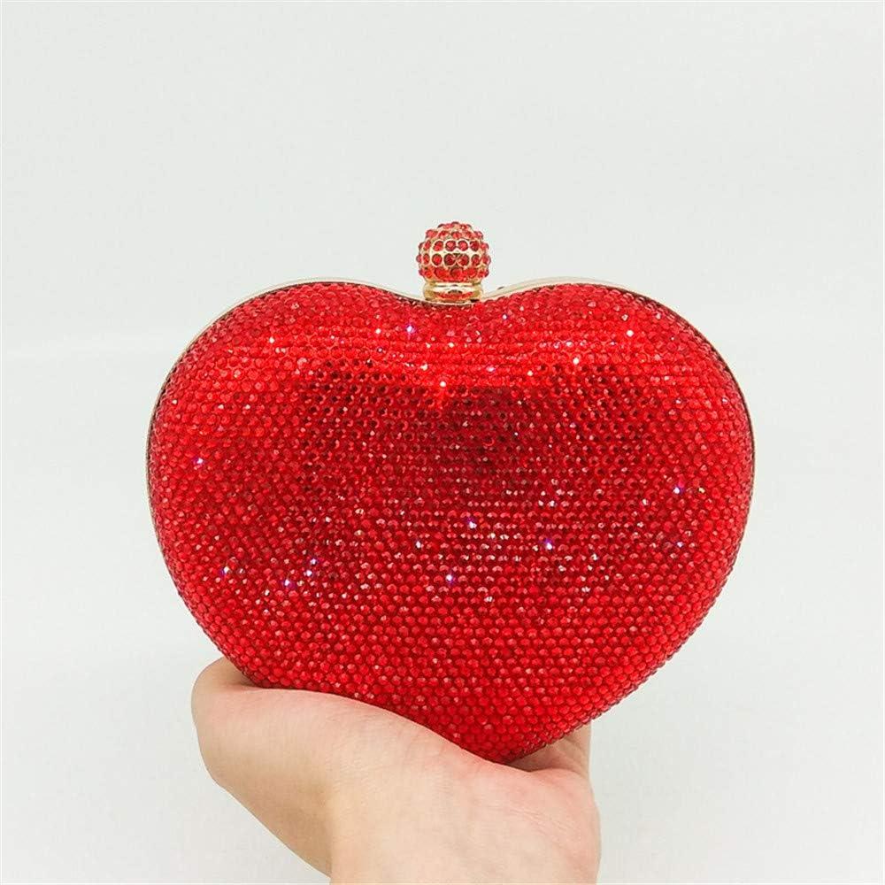 Madeinely Dames Sac d'embrayage Sac à Main en Cristal en Forme de Coeur pour Femme (Color : Yellow) Red