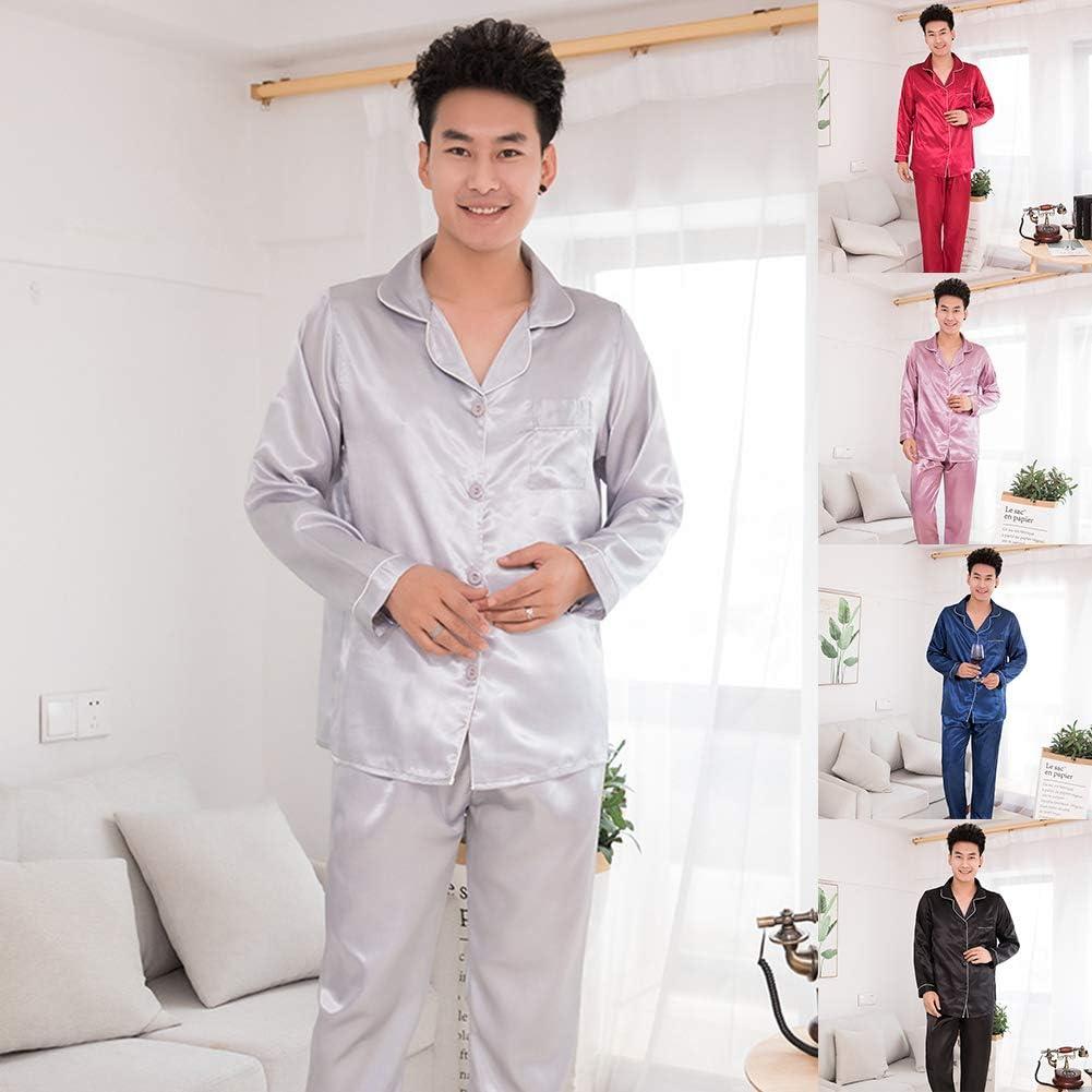 shlutesoy Fashion Silk Satin Men Pajamas Set Fashion Sleepwear Couple Solid Color Long Sleeve Suit Purple L