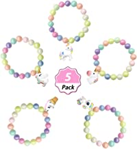 SUNOVELTIES Unicorn Party Favor Bracelet - Unicorn Pendant Star Beaded Bracelet for Birthday Gifts Bracelet (5Pack-Bead)