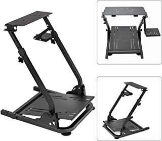 Simulation Driving Bracket Racing Simulator Steering Wheel Stand,Racing Frame Pro Cockpit for Logitech G25 G29 G27 (Black)