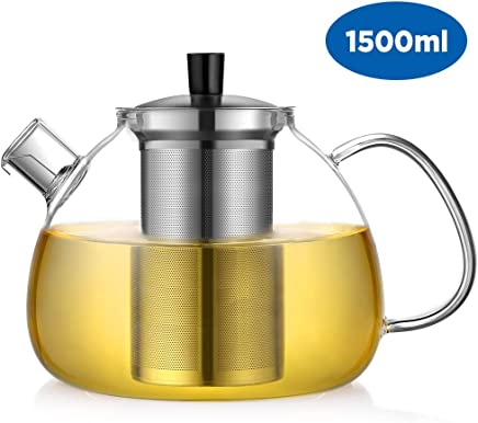 Ecooe Teekanne Glas Teebereiter 1500 ml mit abnehmbare Edelstahl-Sieb Glaskanne Aufheizen auf dem Herd preisvergleich bei geschirr-verleih.eu