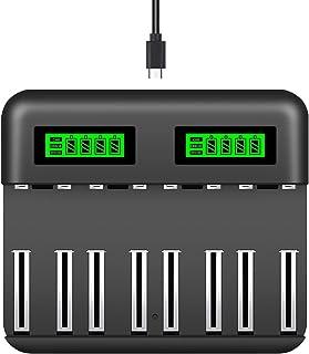Snado AA AAA C D batteriladdare, 8 kortplatser smart snabbladdare med LCD-skärm för AA AAA C D Ni-MH/Ni-Cd uppladdningsbar...