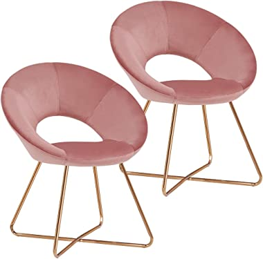 Duhome Modern Accent Velvet Chairs Dining Chairs Single Sofa Comfy Upholstered Arm Chair Living Room Furniture Mid-Century Leisure Lounge Chairs with Golden Metal Frame Legs Set of 2 Pink