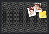 PinPix pin Cork Bulletin Board Made from Canvas, Modeco Hex White Black 30x20 Inches (Completed Size) and Framed in Satin Black (PinPix-Group-82)