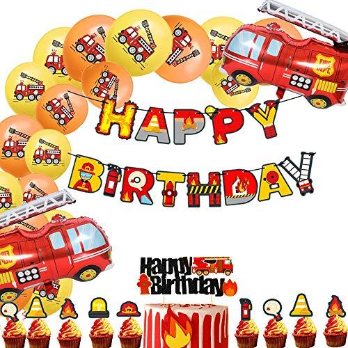 JeVenis 36 PCS Feuerwehrmann Geburtstag Banner Feuerwehrauto Geburtstag Luftballons Feuerwehrmann Geburtstagsfeier Dekoration Feuerwehr Party Dekoration für Geburtstag Baby Dusche Dekorationen